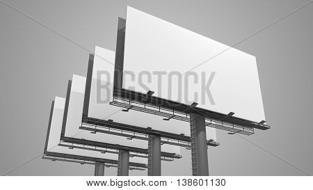 Many Blank White Billboards On Gray Background. 3D Rendered Illu