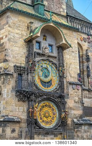 Astronomical Clock or Orloj of the Old Town Hall on the Staromestske namesti Square, Czech Republic.