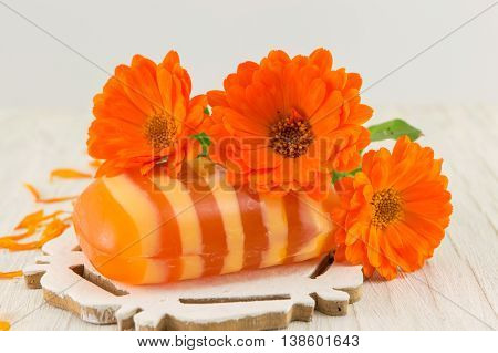 Marigold Soap With A Fresh Flower Bouquet
