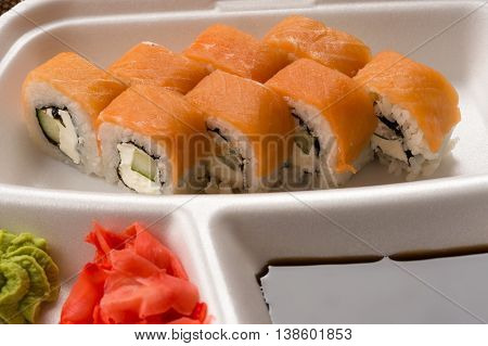 fresh sushi rolls with salmon close up