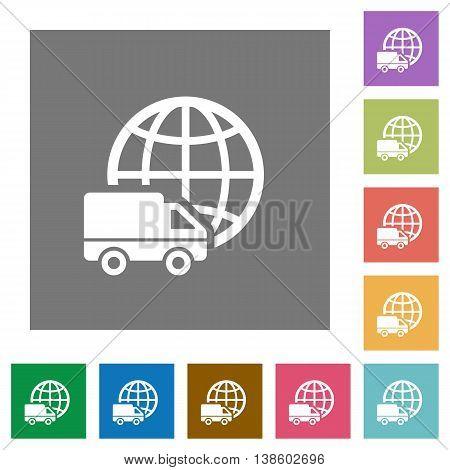 International transport flat icon set on color square background.