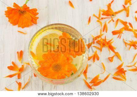Marigold Flower Herbal Tea With Lemon Slices