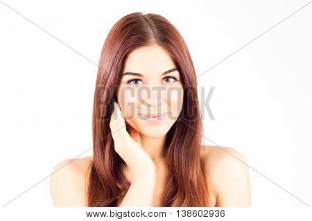 Beautiful smiling sensual woman touching cheek. Beauty woman.