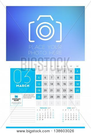 Wall Calendar Planner Print Template For 2017 Year. March 2017. Calendar Poster With Place For Photo