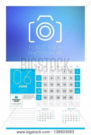 Wall Calendar Planner Print Template For 2017 Year. June 2017. Calendar Poster With Place For Photo.