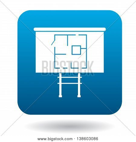 House on stilts icon in simple style in blue square. Construction symbol
