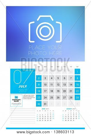 Wall Calendar Planner Print Template For 2017 Year. July 2017. Calendar Poster With Place For Photo.