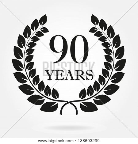90 years anniversary laurel wreath sign or emblem. Template for celebration and congratulation design. Vector 90th anniversary label isolated on white background.