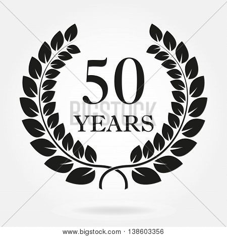 50 years anniversary laurel wreath sign or emblem. Template for celebration and congratulation design. Vector 50th anniversary label isolated on white background.