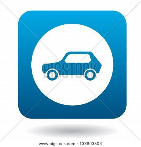Sign cars icon in simple style in blue square. Rules of the road symbol