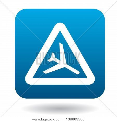 Sign airport icon in simple style in blue square. Rules of the road symbol