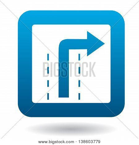 Sign right way icon in simple style in blue square. Rules of the road symbol