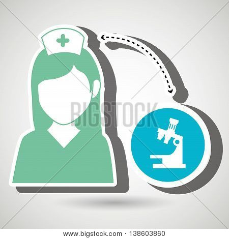 nurse and microscope isolated icon design, vector illustration  graphic