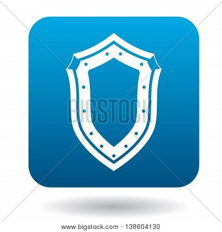 Shield icon in simple style in blue square. Weapon for combat symbol