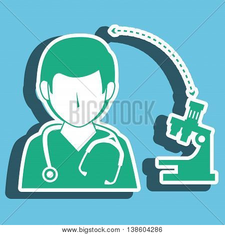 nurse man and microscope isolated icon design, vector illustration  graphic