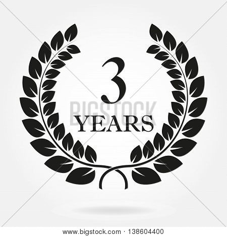 3rd years anniversary laurel wreath sign or emblem. Template for celebration and congratulation design. Vector third anniversary label isolated on white background.