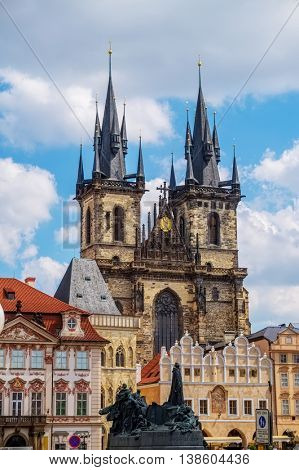 Church of Our Lady before Tyn has been the main church of Prague center since the 14th century. The Tyn church's towers in sunny day which is 80 meters high. Czech Republic.