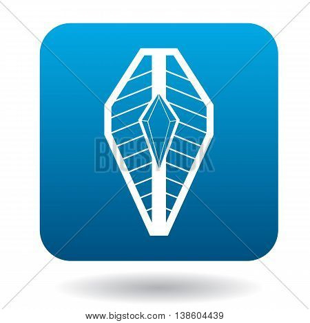 Shield with picture of diamond icon in simple style in blue square. Weapon for combat symbol