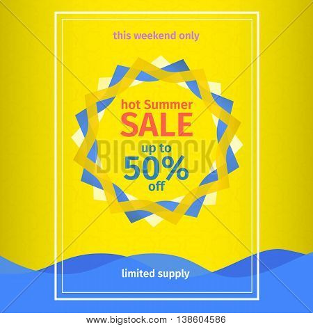 Summer sales yellow poster. Banner template summer sales. Abstract sun and waves