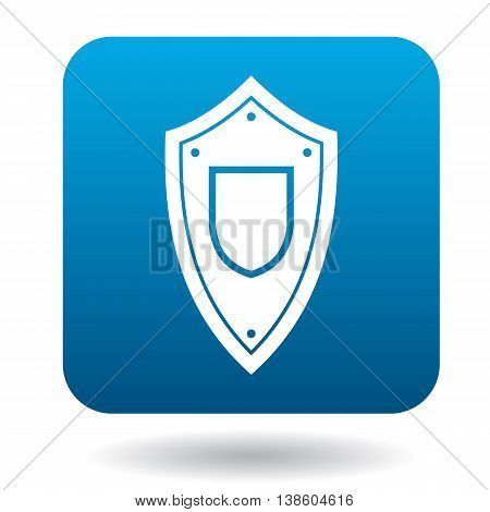 Protective battle shield icon in simple style in blue square. Weapon for war symbol