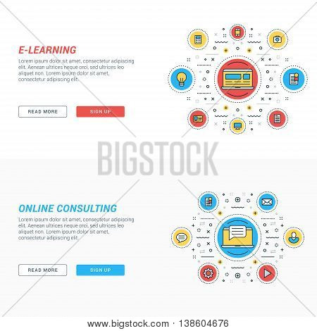 Set of flat line business website banner templates. Vector illustration. Modern thin line icons in circle. E-learning. Online consulting