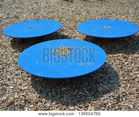 playground three blue trampolines in woodchips vlissingen
