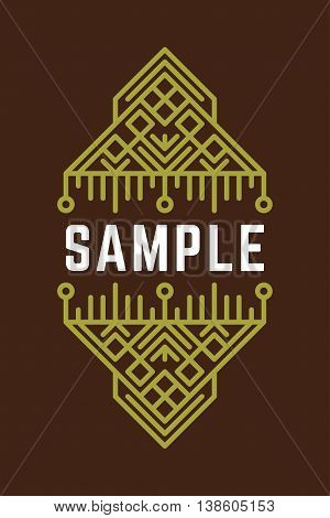Slavic Or Viking Style Oldfashioned Art Decorative Geometric Vector Frames And Borders. Green On Bro