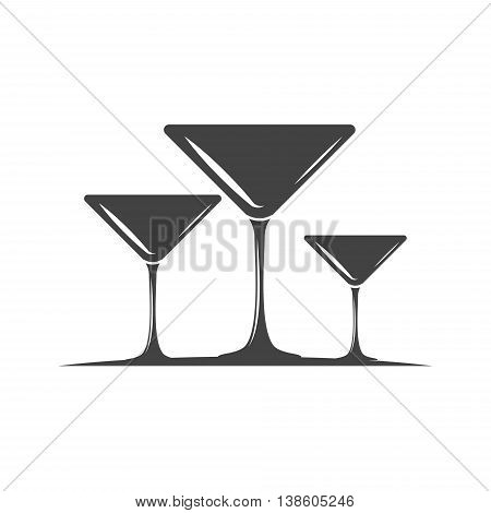 Three cocktail martini type glasses. Black icon logo element flat vector illustration isolated on white background.