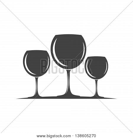 Three red or white wine glasses. Black icon logo element flat vector illustration isolated on white background.