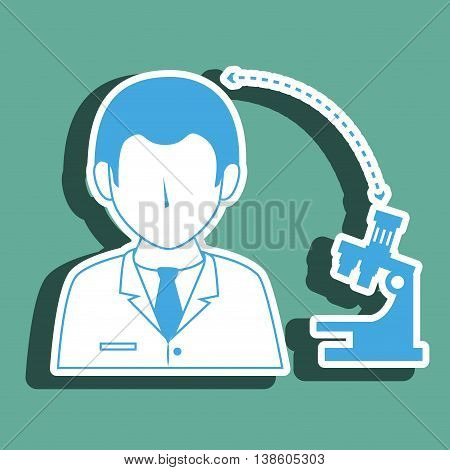 doctor with microscope isolated icon design, vector illustration  graphic