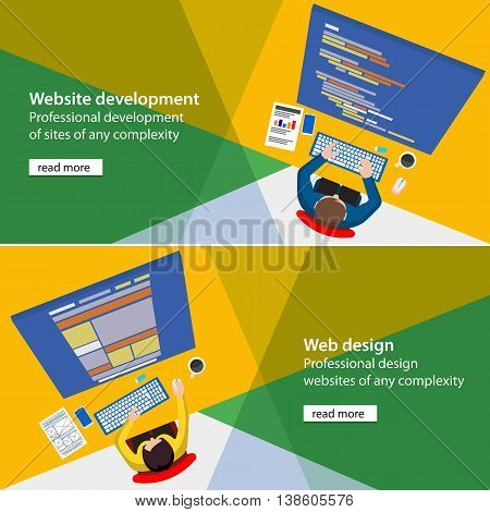 Banner development and design process programmer site. Flat website development and design process illustration. Programmer and designer top view html code on monitor. Material design UI/UX.