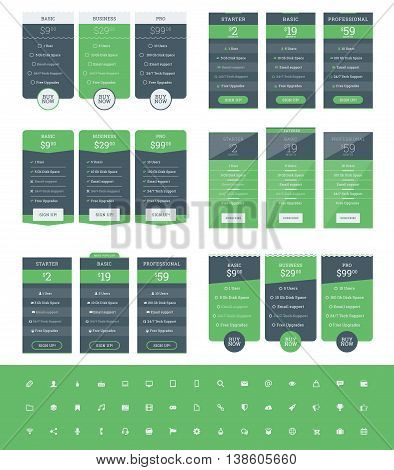 Set Of Pricing Table Design Templates For Websites And Applications. Vector Pricing Plans With Icon