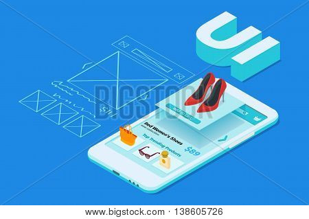 Sketch mobile application. The process of developing the site interface. Mobile app development 3d flat isometric illustration with smartphone. User interface UI
