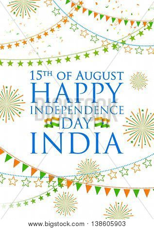 illustration of tricolor India banner for Happy Independence Day of Indian