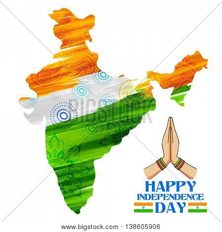 illustration of watercolor painting of Indian map for Happy Independence Day of Indian