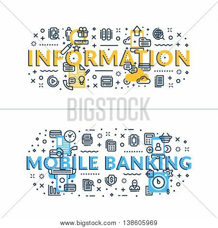 Information and Online Banking headings titles. Horizontal colored flat vector illustration.