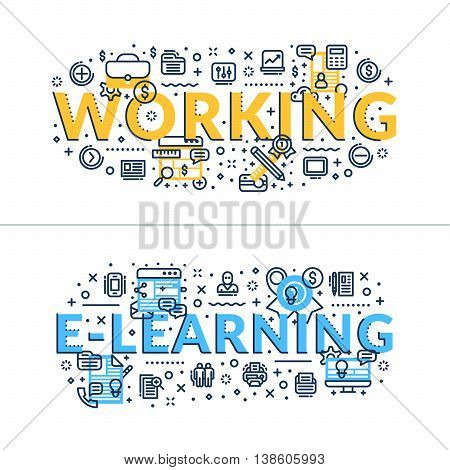 Working and E-learning headings titles. Horizontal colored in blue and yellow flat vector illustration.