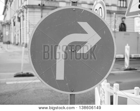 Turn Right Sign In Black And White