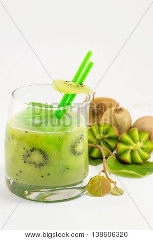 Fresh Kiwi Fruit With Kiwi Juice For Healthy Dessert