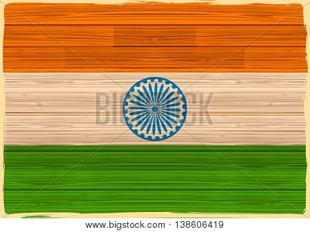 illustration of tricolor Indian Flag background in wooden texture