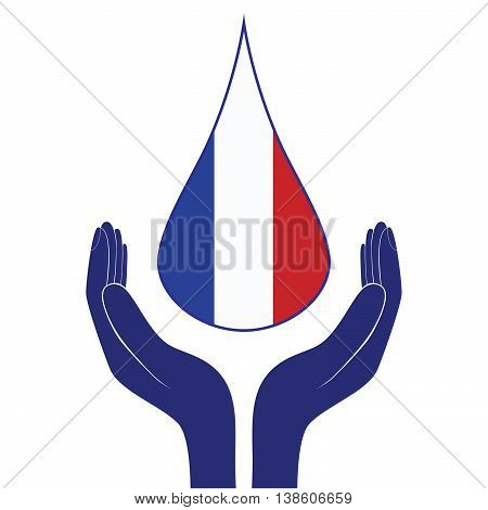 hands holding tear French flag pray. Vector icon World support for France Nice.