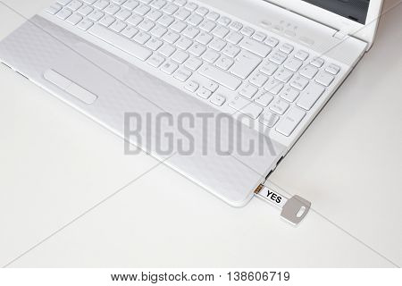 Pendrive In A Laptop With The Word Yes