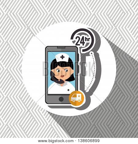 nurse 24-hour health ambulance isolated icon design, vector illustration  graphic