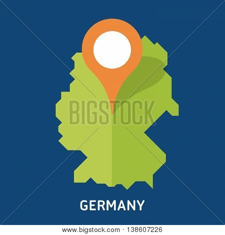 Map of Germany isolated on blue background. European country. Vector template for website, design, cover, infographics. Graph illustration.