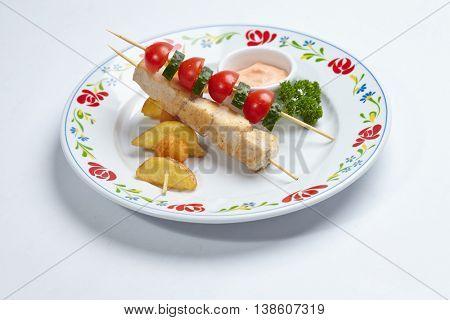 chicken kebab with sauce