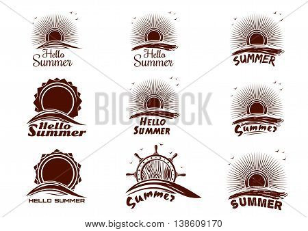 Sun and sea icons collection. Hello Summer. Set of summer holidays labels with sun sea waves dawn seagulls ship's helm and lettering. Vector icons isolated on white background
