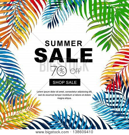 Summer Sale Banners With Multicolor Coconut Palm Leaves. Vector
