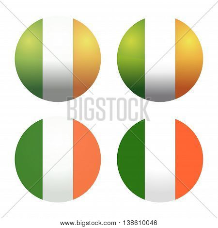 Set round Irish flags. Round Ireland flags. Ireland flag button. Flags of Ireland as round glossy icon. Buttons with Irish flag. Set of vector Irish flags isolated on white background.