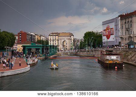 MILAN ITALY - JUNE 05: View of Darsena wet dock in Milan on June 05 2016