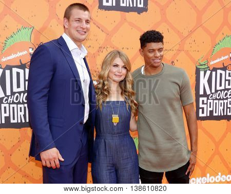 Rob Gronkowski, Stevie Nelson and Brandon Broadyat at the Nickelodeon Kids' Choice Sports Awards 2016 held at the UCLA's Pauley Pavilion in Westwood, USA on July 14, 2016.